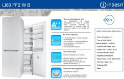 COMBINE =  INDESIT LI 80FF2WB = 305 Litres 2 portes  Classe A++ no-frost (SIRAM électroménager)